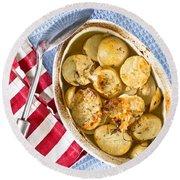 Potato Dish Round Beach Towel by Tom Gowanlock