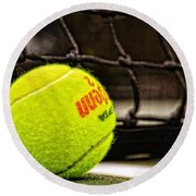 Practice - Tennis Ball By William Patrick And Sharon Cummings Round Beach Towel by Sharon Cummings