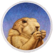 Prairie Dog Round Beach Towel by James W Johnson