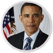 President Barack Obama Round Beach Towel by Pete Souza