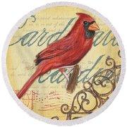 Pretty Bird 1 Round Beach Towel by Debbie DeWitt