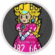 Princess Peach From Mario Brothers Nintendo Recycled License Plate Art Portrait Round Beach Towel by Design Turnpike