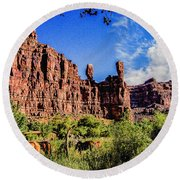Private Home Canyon Dechelly Round Beach Towel by Bob and Nadine Johnston