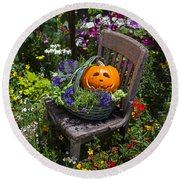 Pumpkin In Basket On Chair Round Beach Towel by Garry Gay