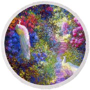 White Peacocks, Pure Bliss Round Beach Towel by Jane Small