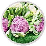 Purple Cauliflower Round Beach Towel by Tom Gowanlock