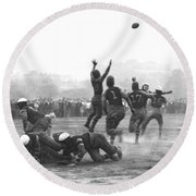Quarterback Throwing Football Round Beach Towel by Underwood Archives