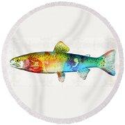 Rainbow Trout Art By Sharon Cummings Round Beach Towel by Sharon Cummings