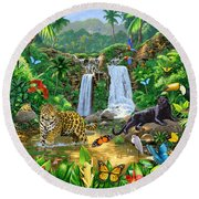 Rainforest Harmony Variant 1 Round Beach Towel by Chris Heitt