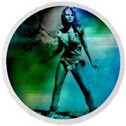 Raquel Welch Round Beach Towel by Marvin Blaine