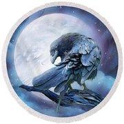 Raven Moon Round Beach Towel by Carol Cavalaris
