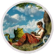 Reading About Dragons Round Beach Towel by Daniel Eskridge