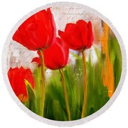 Red Enigma- Red Tulips Paintings Round Beach Towel by Lourry Legarde
