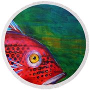 Red Fish Round Beach Towel by Nancy Merkle