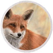 Red Fox Painting Round Beach Towel by Rachel Stribbling