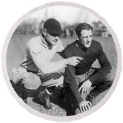 Red Grange And His Coach Round Beach Towel by Underwood Archives