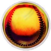 Red Hot Baseball Round Beach Towel by Yo Pedro