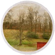 Red Shed Round Beach Towel by Paulette B Wright