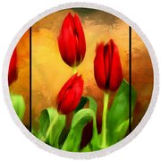 Red Tulips Triptych Round Beach Towel by Lourry Legarde