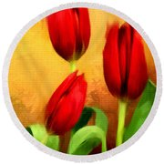 Red Tulips Triptych Section 2 Round Beach Towel by Lourry Legarde