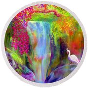 Waterfall And White Peacock, Redbud Falls Round Beach Towel by Jane Small