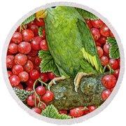 Redcurrant Parakeet Round Beach Towel by Ditz