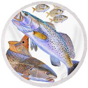 Redfish Trout Round Beach Towel by Carey Chen