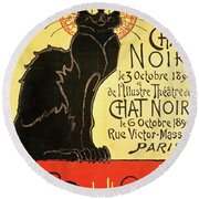 Reopening Of The Chat Noir Cabaret Round Beach Towel by Theophile Alexandre Steinlen