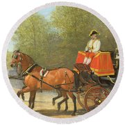 Returning From Her Majestys Drawing Room Round Beach Towel by Alfred Corbould