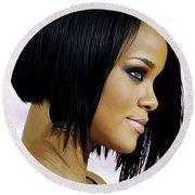 Rihanna Artwork Round Beach Towel by Sheraz A