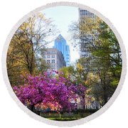 Rittenhouse Square In Springtime Round Beach Towel by Bill Cannon