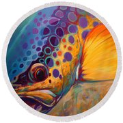 River Orchid - Brown Trout Round Beach Towel by Savlen Art