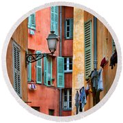 Riviera Alley Round Beach Towel by Inge Johnsson