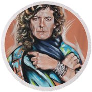 Robert Plant Round Beach Towel by Melanie D