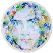 Robert Plant - Watercolor Portrait Round Beach Towel by Fabrizio Cassetta