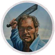 Robert Shaw In Jaws Round Beach Towel by Paul Meijering