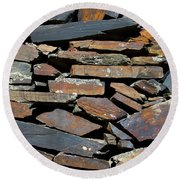 Round Beach Towel featuring the photograph Rock Wall Of Slate by Bill Gabbert