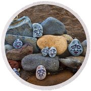 Rocky Faces In The Sand Round Beach Towel by David Smith