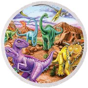 Rocky Mountain Dinos Round Beach Towel by Mark Gregory