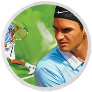 Roger Federer Artwork Round Beach Towel by Sheraz A