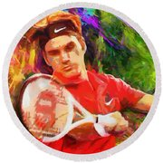 Roger Federer Round Beach Towel by RochVanh