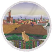 Rooftops In Marrakesh Round Beach Towel by Larry Smart