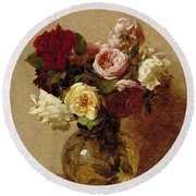 Roses Round Beach Towel by Ignace Henri Jean Fantin-Latour