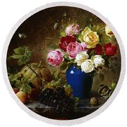 Roses In A Vase Peaches Nuts And A Melon On A Marbled Ledge Round Beach Towel by Olaf August Hermansen