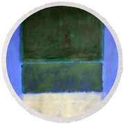 Rothko's No. 14 -- White And Greens In Blue Round Beach Towel by Cora Wandel