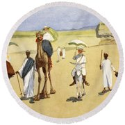 Round The Pyramids, From The Light Side Round Beach Towel by Lance Thackeray