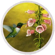 Ruby Throated Hummingbird And Foxglove Round Beach Towel by Rick Bainbridge