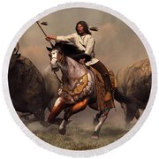Running With Buffalo Round Beach Towel by Daniel Eskridge