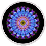 Sacred Crown - Mandala Art By Sharon Cummings Round Beach Towel by Sharon Cummings