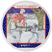 Sagittarius Wc On Paper Round Beach Towel by Catherine Bradbury
